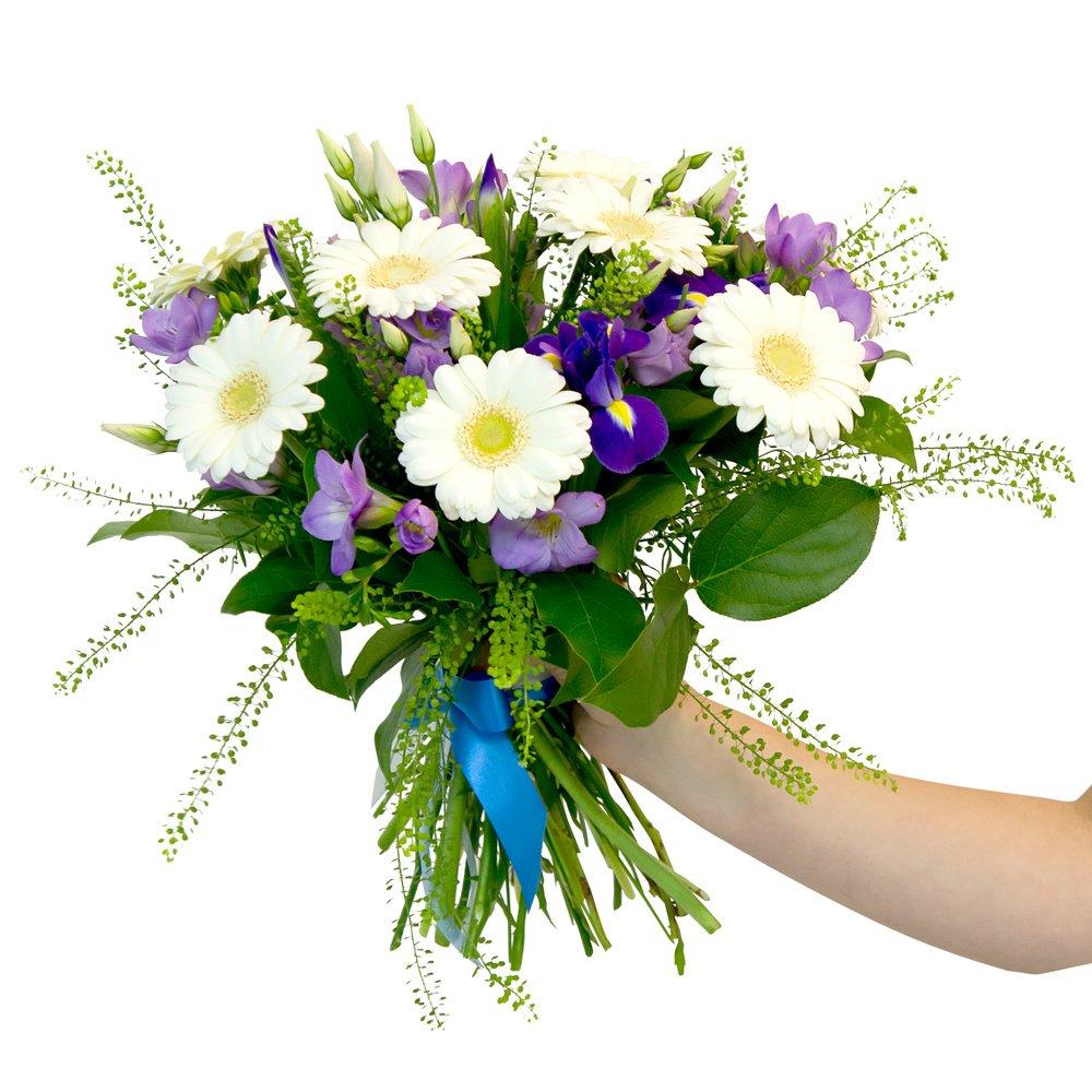 «Весна» - букет с герберами, ирисами, фрезиями и лизиантусами