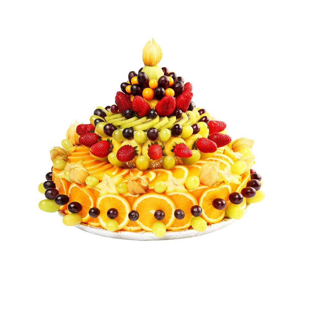 Большой фруктовый торт.