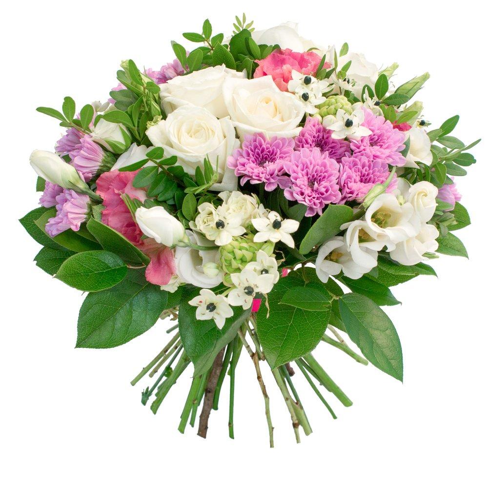 Букет из белых лизиантусов, лизиантусов розовых, цветков орнитогалума, белых роз, роз кустовых белых, салала, фисташки, хризантем сиреневых кустовых в Санкт-Петербурге
