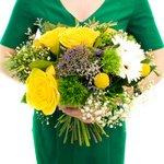 Желто-сине-белое чудо от наших флористов