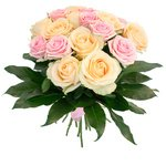 Букет из роз Аваланж и розовой, украшены аралией