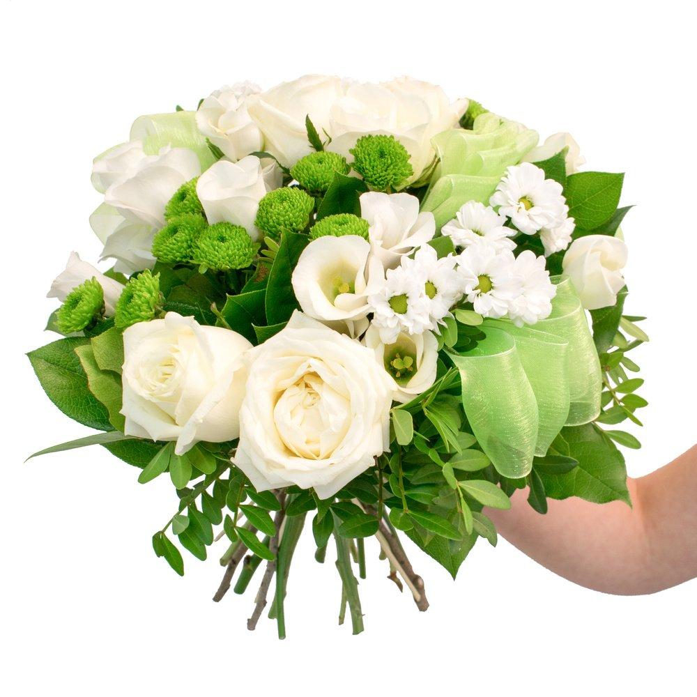 Давай встретимся - микс хризантем, белая роза и белый лизиантус