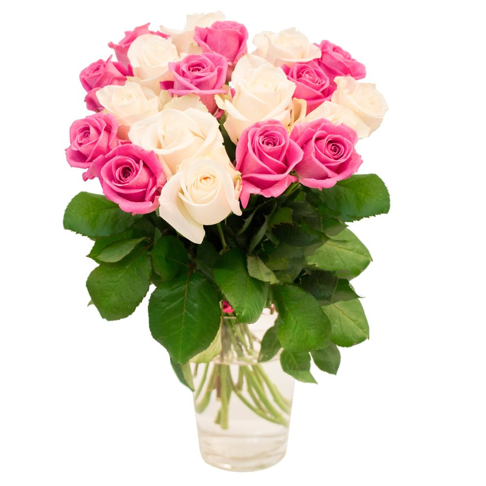 Букет розовые и белые розы 19 штук в Санкт-Петербурге