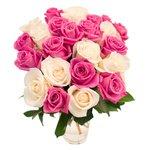 Букет 25 белых и розовых роз в Санкт-Петербурге