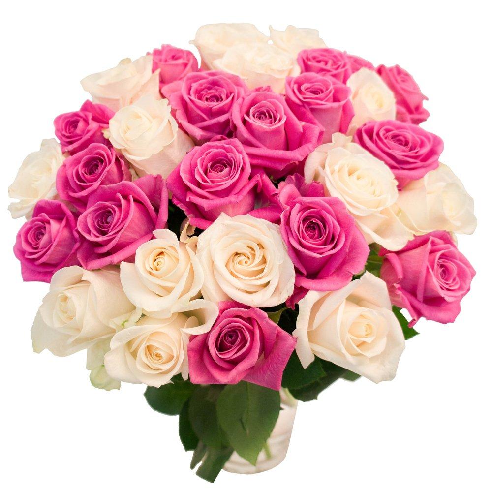 31 белая и розовая роза