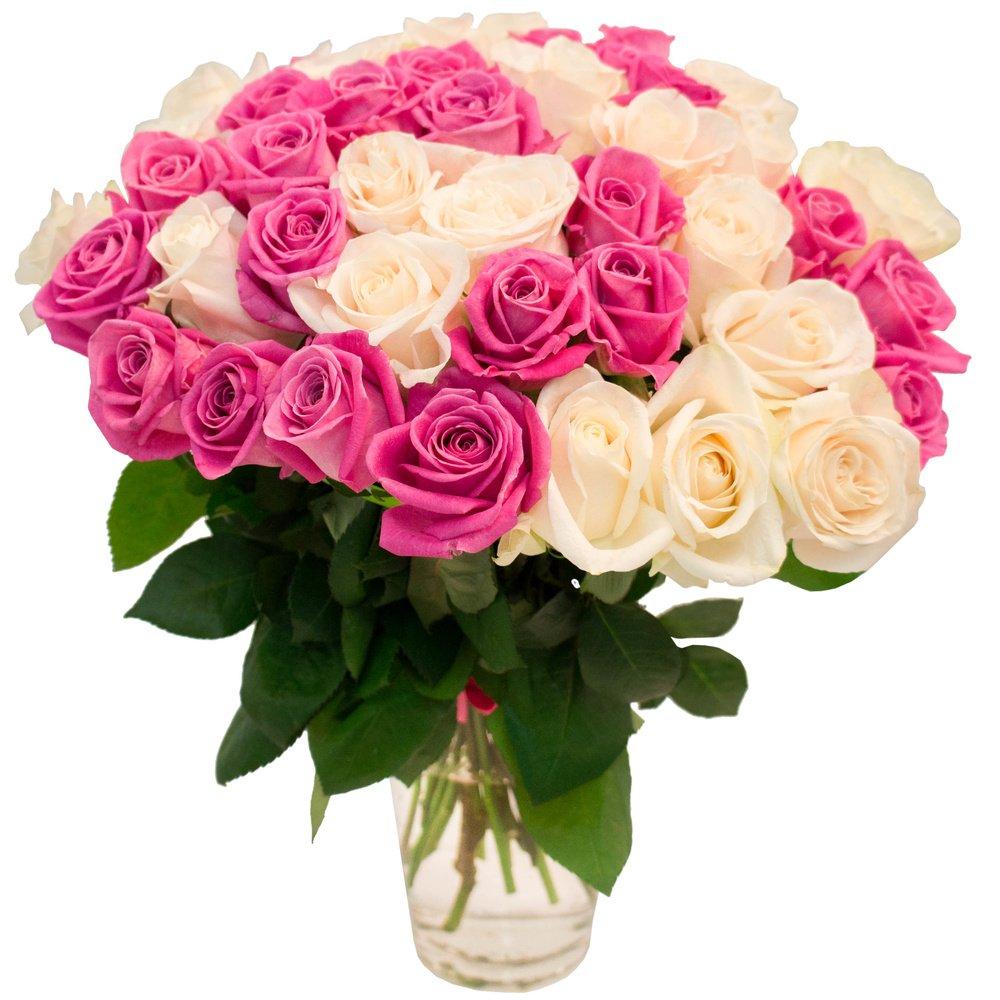 45 белых и розовых роз