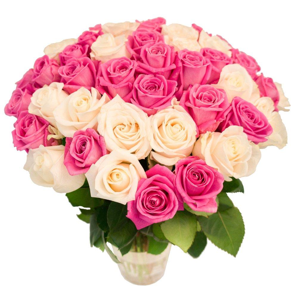 55 белых и розовых роз
