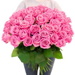 Букет 55 розовых роз в Санкт-Петербурге
