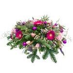 Букет с брунией, ваксфлауэром, вероникой синей, еловыми ветками, розами розовыми 50 см, синим лимониумом, шариками блестящими, эвкалиптом в Санкт-Петербурге