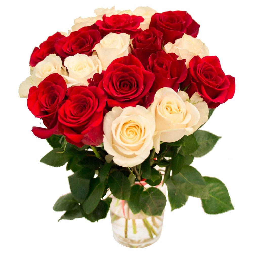19 красных и белых роз