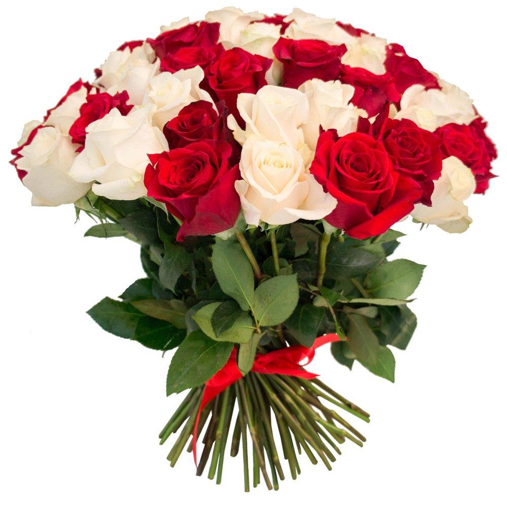 Букет из 75 красных и белых роз в Санкт-Петербурге