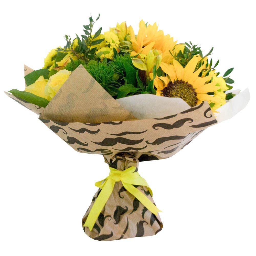 Алехандро - букет с желтыми цветами: хризантема, альстромерия, подсолнух, роза