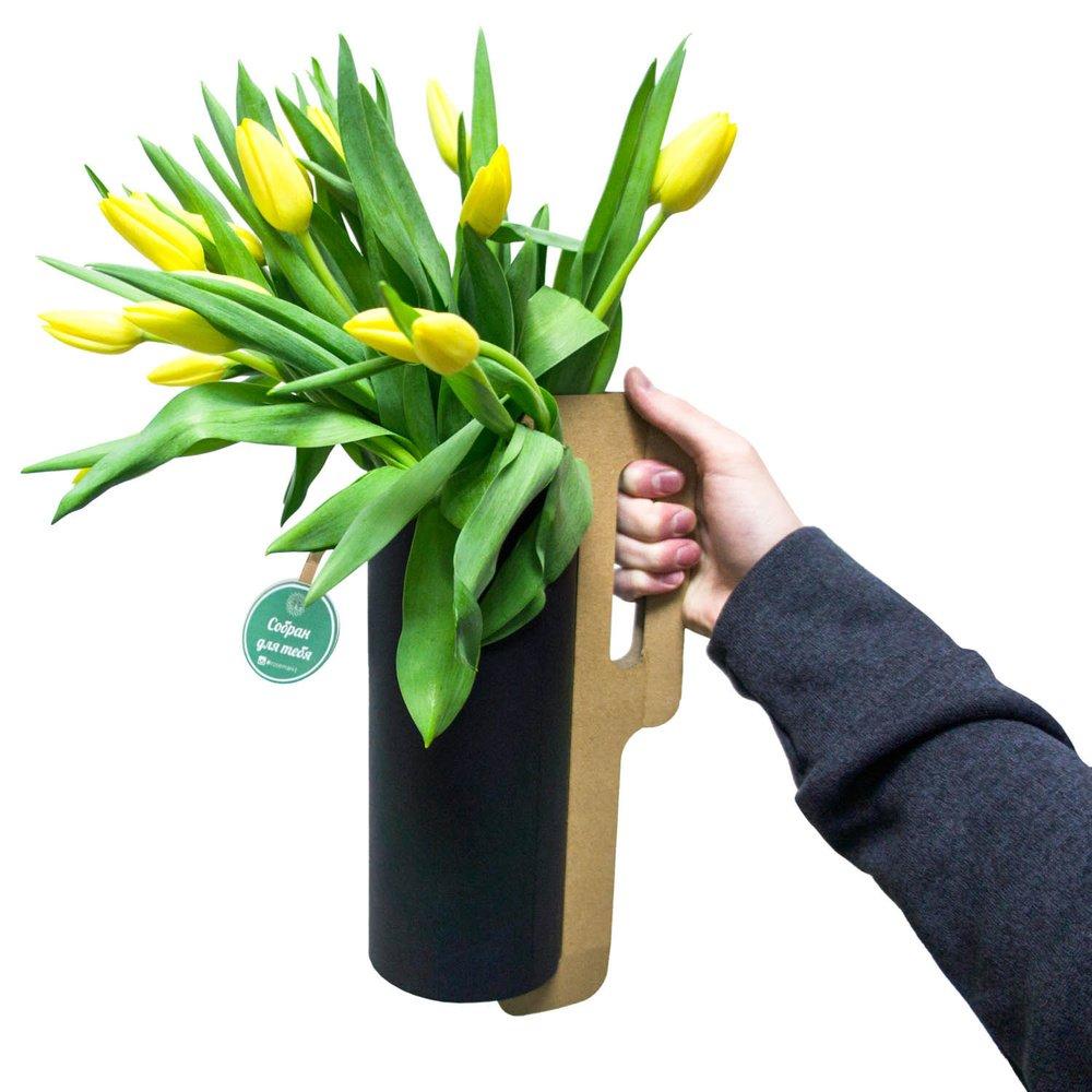 Жёлтые тюльпаны в тубе