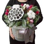 Композиция в шляпной коробке с еловыми ветками, лотосом, шариками блестящими, шишками, эвкалиптом в Санкт-Петербурге
