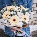 Герберы, хлопок, хризантема. Цветы на выбор флориста