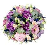 Коробка с цветами гвоздика, лизиантус лиловый, лизиантус розовый, пион розовый, роза кустовая персиковая, фисташка, эвкалипт, эрингиум в Санкт-Петербурге