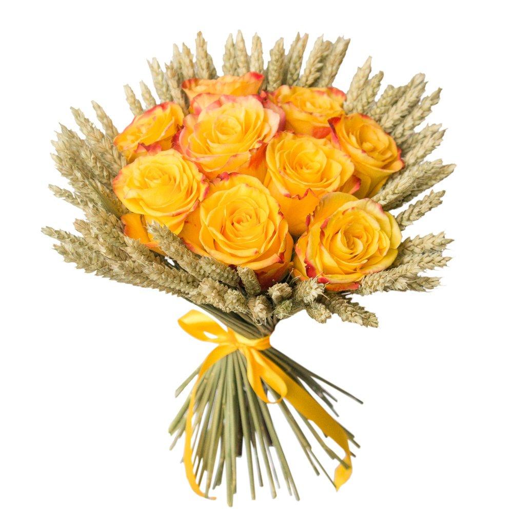 Букет с лилией, герберами и розами