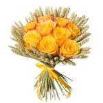 Букет их жёлтых роз, колосков в Санкт-Петербурге