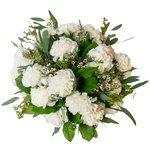 Буке из белых гвоздик, хамелациума, листьев салала и эвкалипта