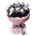 Букет из чёрных роз, лаванды, колосков, хлопка в Санкт-Петербурге