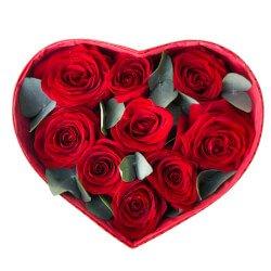 Коробка в виде сердца с розами и эвкалиптом в Санкт-Петербурге