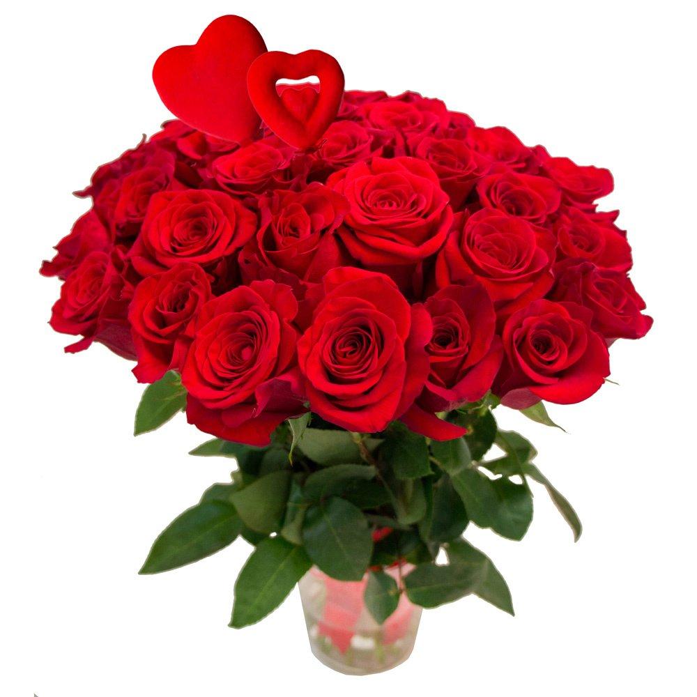 31 красная роза с сердцами