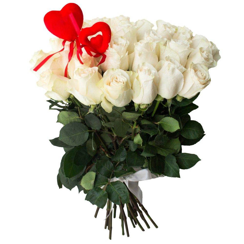 Букет из 35 белых роз, цветы