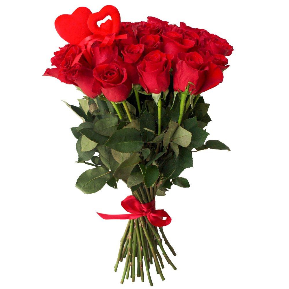35 красных роз с сердцами