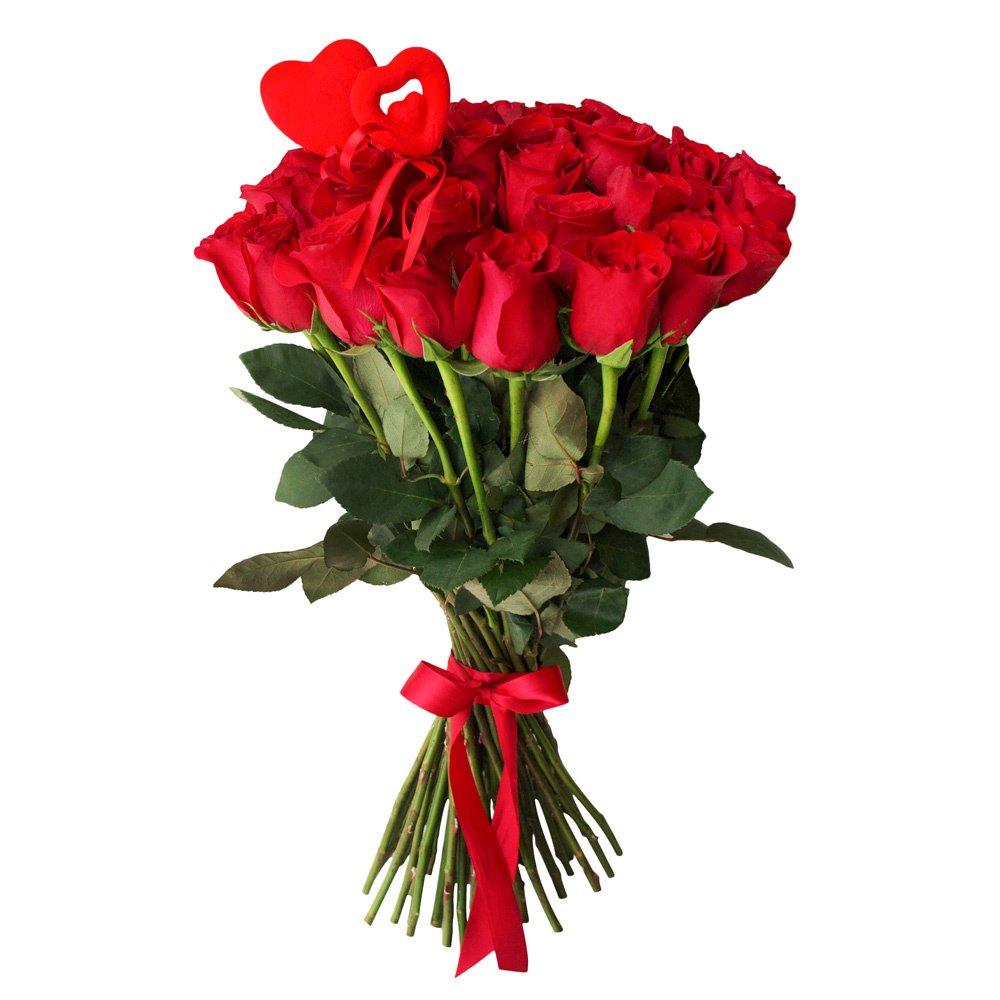 45 красных роз с сердцами