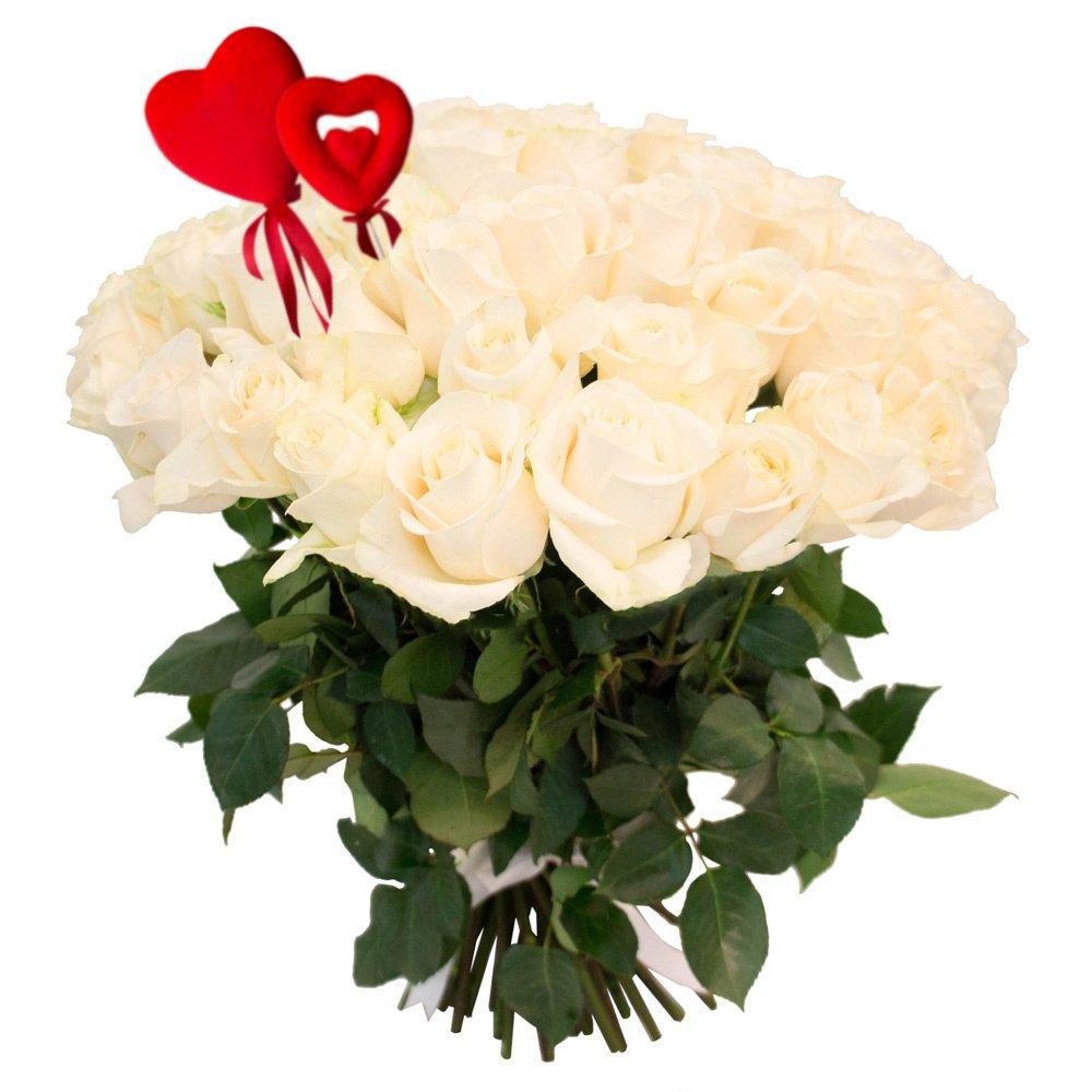 Букет из 55 белых роз на 14 февраля в Санкт-Петербурге