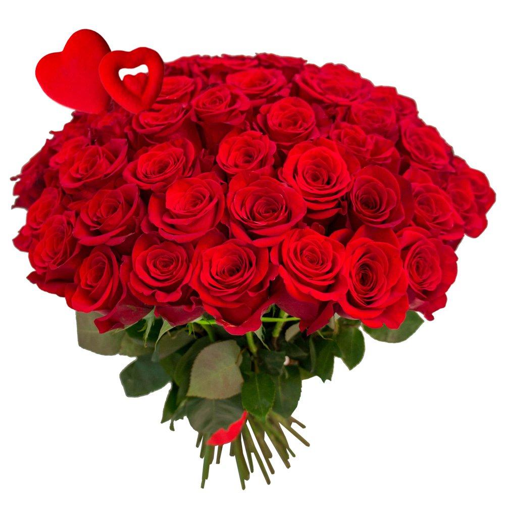 65 красных роз с сердцами