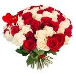 Букет из 75 красных и белых роз на 14 февраля в Санкт-Петербурге