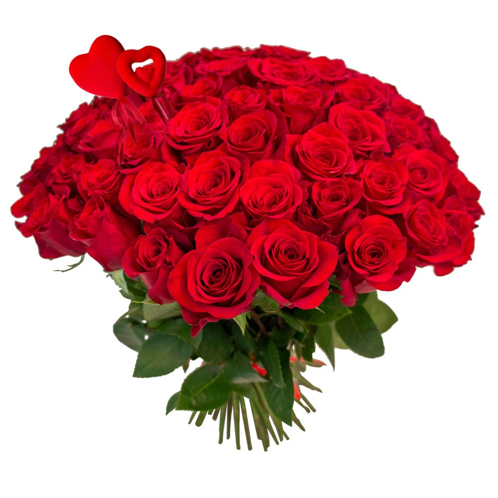 Букет из 75 красных роз на 14 февраля в Санкт-Петербурге