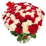 Букет из 101 красной и белой розы на 14 февраля в Санкт-Петербурге