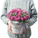 Шляпная коробка с пионовидными розами Мисти Бабблз в Санкт-Петербурге