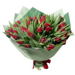Букет из 51 красного пионовидного тюльпана в упаковке в Санкт-Петербурге