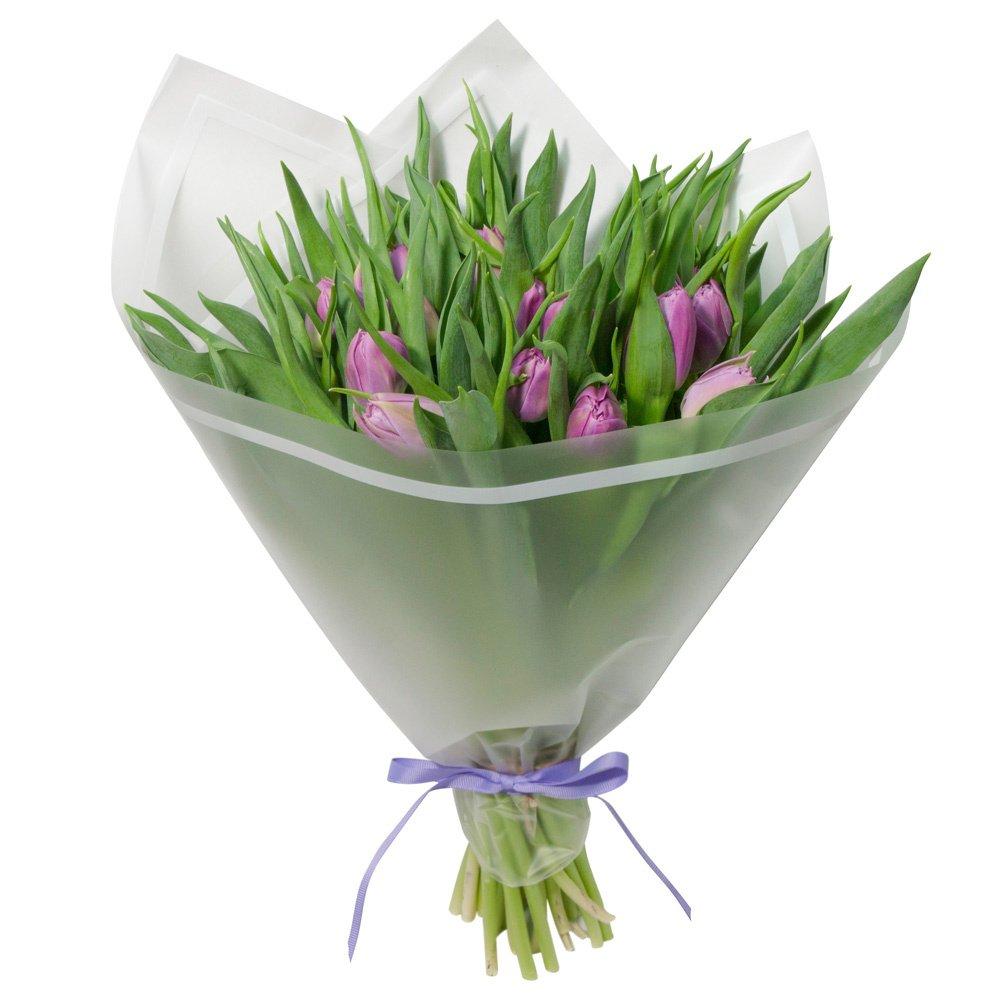Букет из 21 сиреневого пионовидного тюльпана в упаковке в Санкт-Петербурге