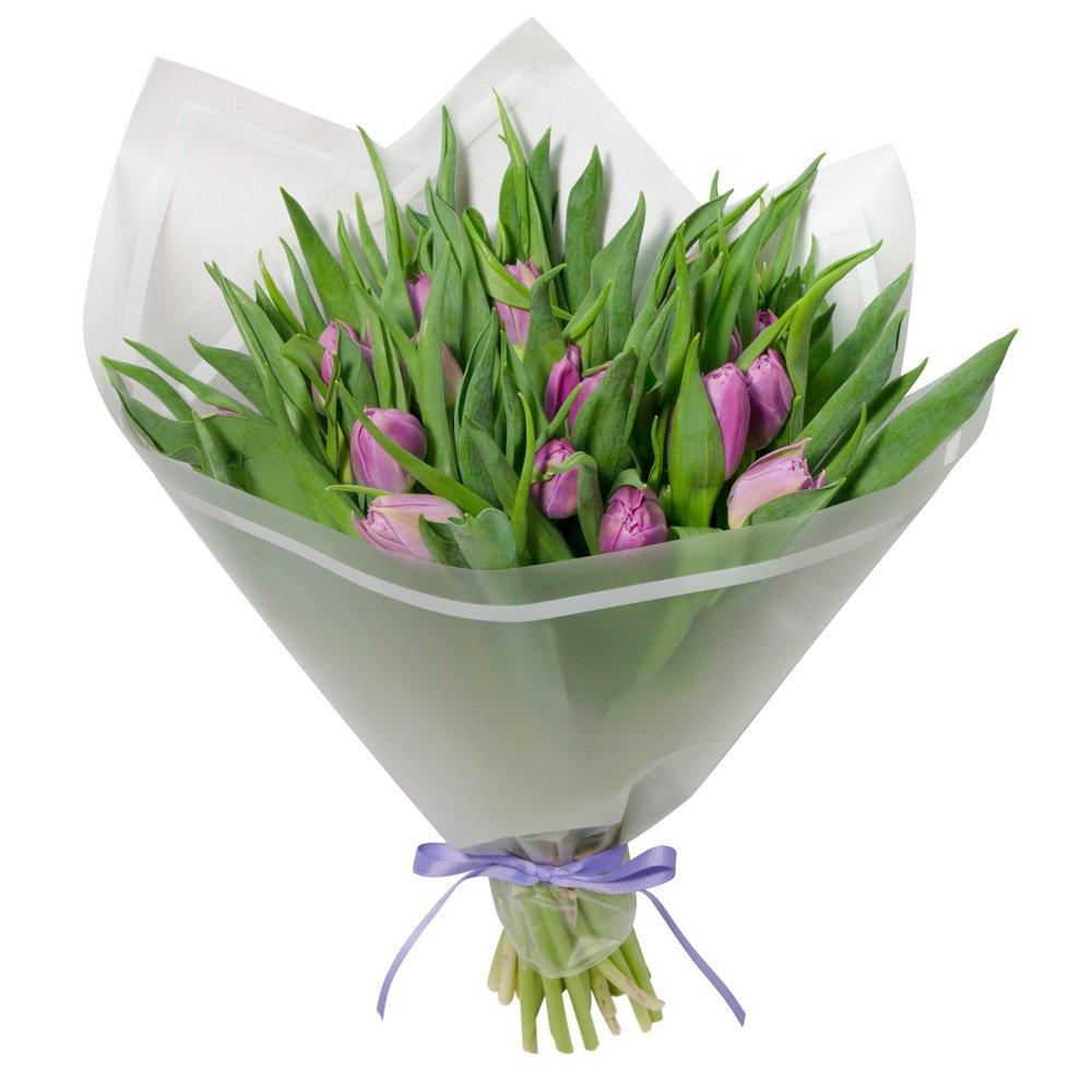 Букет из 25 сиреневых пионовидных тюльпанов в упаковке в Санкт-Петербурге