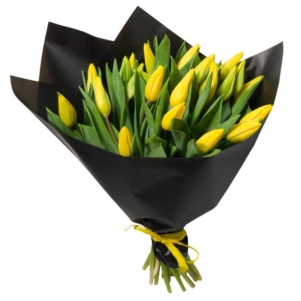 25 жёлтых тюльпанов в упаковке