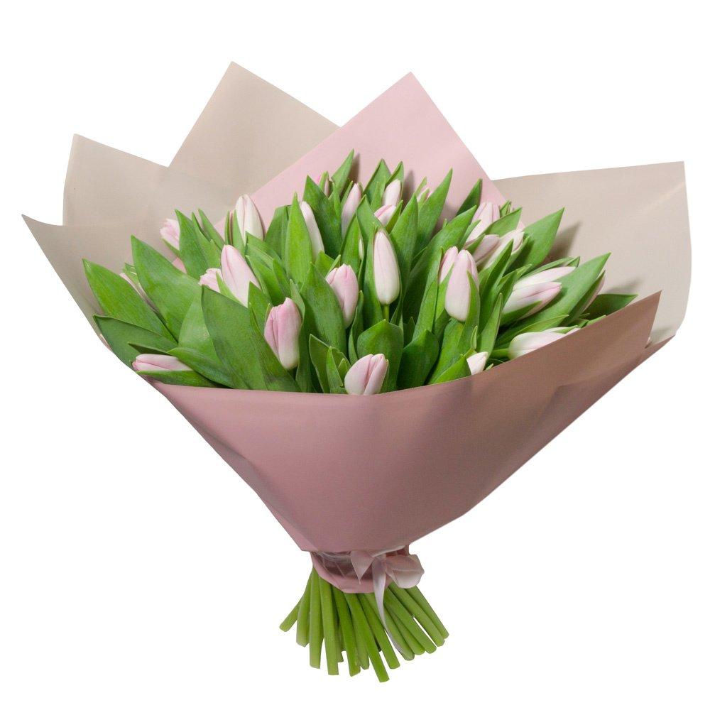 Букет из 51 розового тюльпана в упаковке в Санкт-Петербурге
