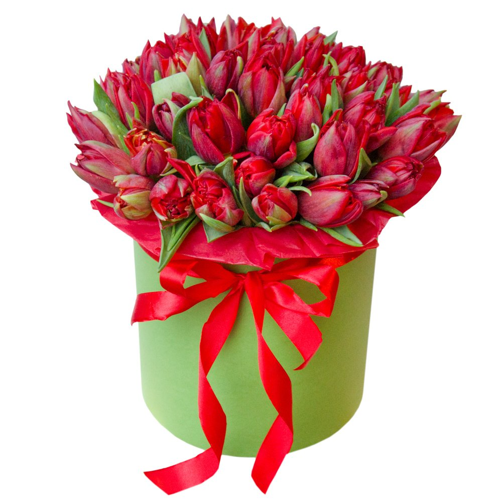 Рори: большой букет красных пионовидных тюльпанов в шляпной коробке