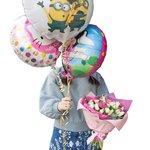 Детский букет из роз и тюльпанов с воздушными шариками в Санкт-Петербурге