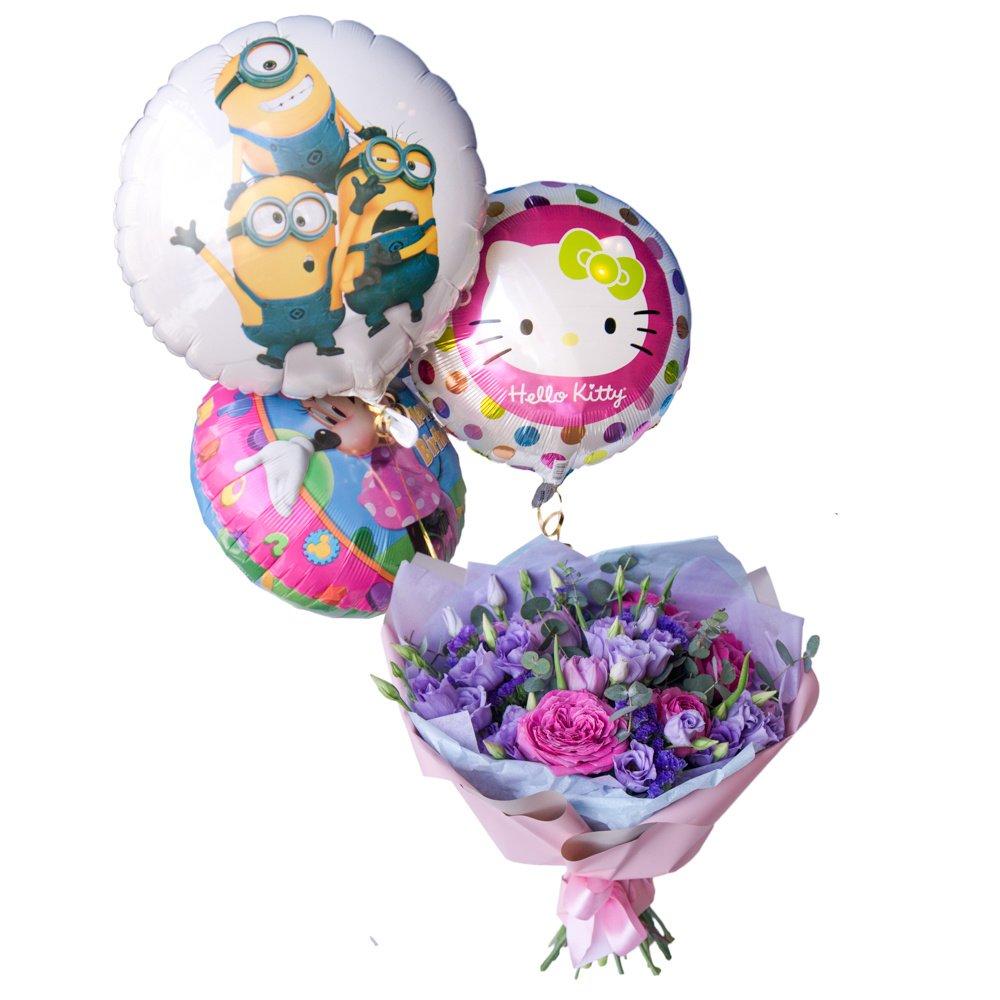 Детский букет из Мисти Бабблз,пионовидных тюльпанов, лизиантосов и статицы с воздушными шариками в Санкт-Петербурге
