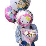 Детский букет из гербер, кустовых гвоздик, краспедии, кустовых роз с воздушными шариками в Санкт-Петербурге