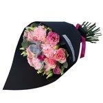 Букет из розовых роз, розовых роз, лизиантуса и суккулента в стильной чёрной упаковке в Санкт-Петербурге