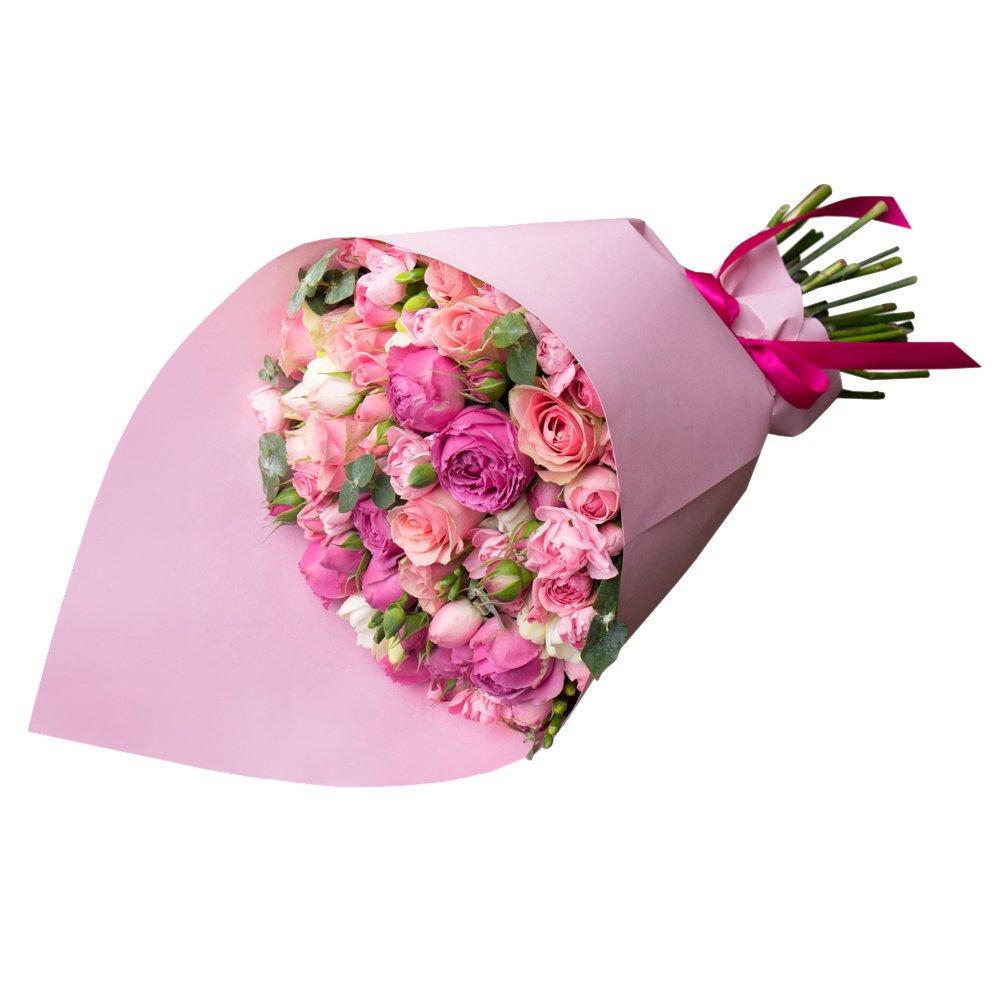 Нежный букет из роз, гвоздик, роз Мисти Бабблз и фрезий в стильной упаковке в Санкт-Петербурге