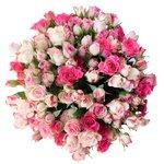 Розовые кустовые розы в шляпной коробке в Санкт-Петербурге