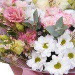 Букет хризантема, эустома, роза, эвкалипт, ваксфлауэр, лизиантус, корейская упаковка в Санкт-Петербурге