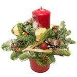 Новогодняя композиция со свечой и конфетами ручной работы в Санкт-Петербурге