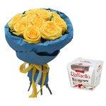 15 жёлтых роз в дизайнерской упаковке с конфетами Рафаэлло в Санкт-Петербурге
